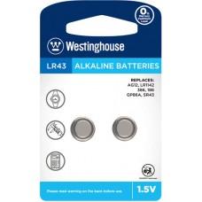 Лужна батарейка Westinghouse Alkaline LR43 2 шт.