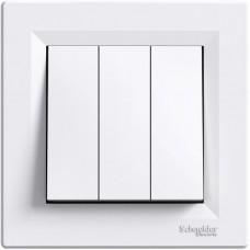 Вимикач 3-клавішний Schneider Electric Asfora 10 A Білий (EPH2100121)